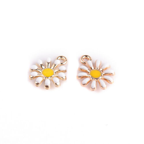 10Pcs//Set Enamel Alloy Sunflower Shape Charms Pendant DIY Craft Jewelry MaODUS