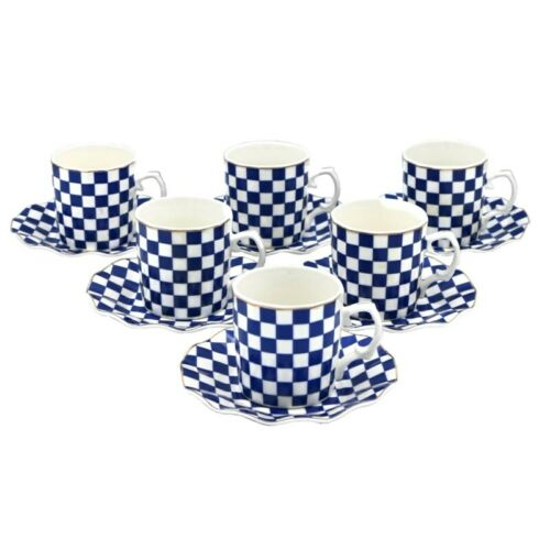 Saucers Porcelain China Espresso Turkish Coffee Demitasse Set of 6 Cups