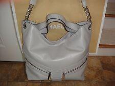 New/Tag Michael Kors Jamesport  LG Pearl Grey Leather Shoulder Bag.MSRP $398.00.