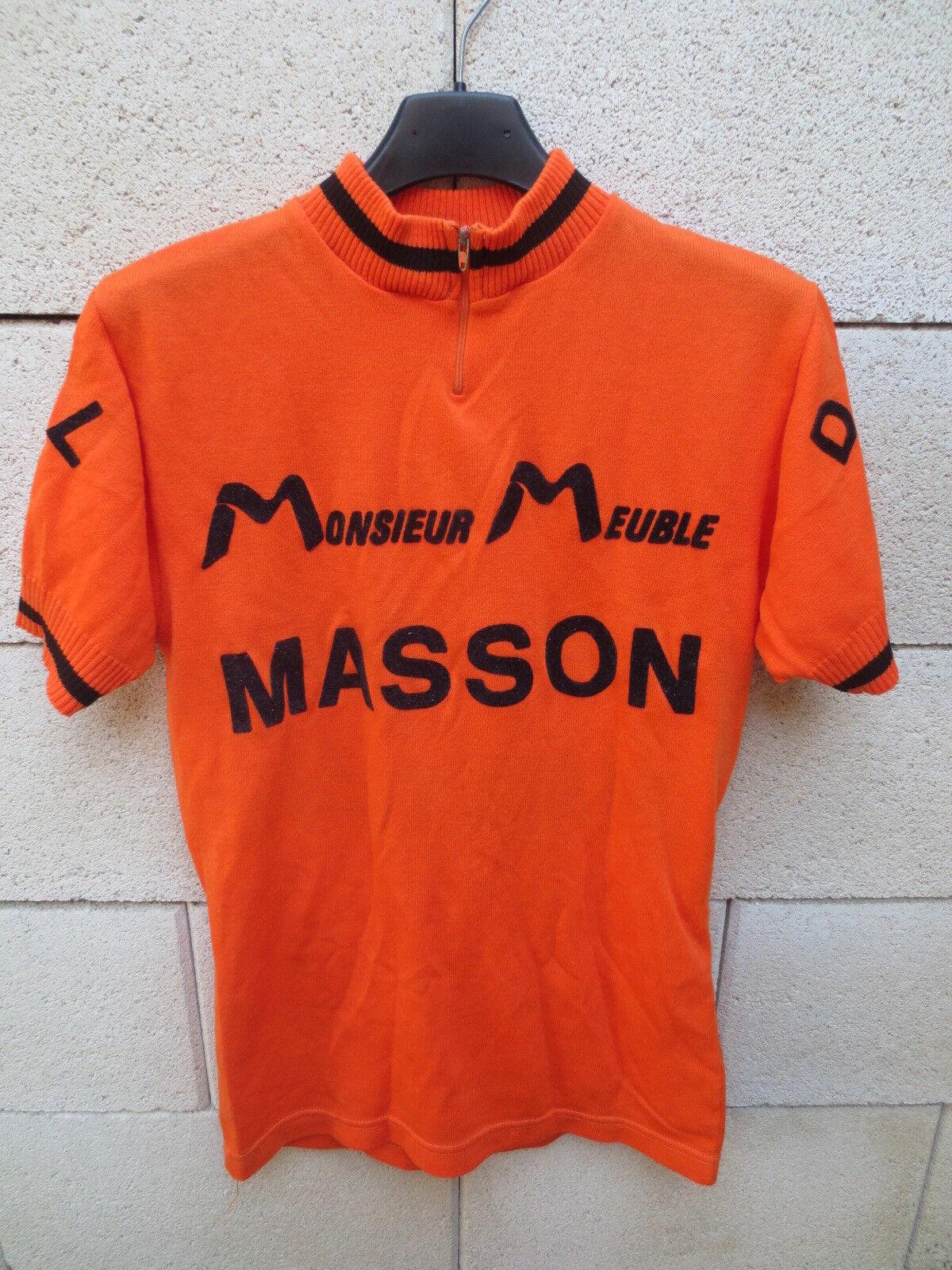 VINTAGE Maillot cycliste orange 70's DOL de BRETAGNE Monsieur Meuble MASSON M