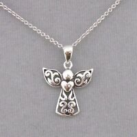 925 Sterling Silver Angel With Heart Necklace Jewelry