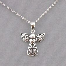 925 Sterling Silver Angel With Heart Necklace Jewelry NEW