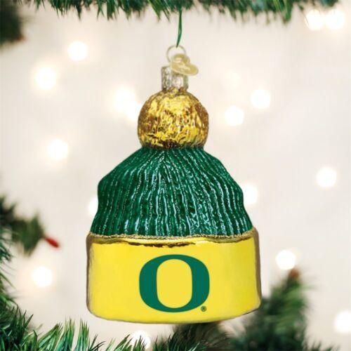 University of Oregon Christmas Ornament Glass Blown Hand Painted Beanie Ducks