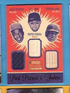 JACKIE-ROBINSON-DUSTIN-PEDROIA-ROBINSON-CANO-3-GAME-USED-JERSEY-BAT-CARD-Dodgers