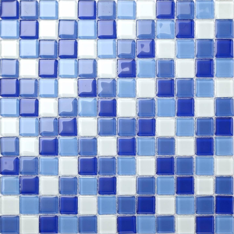 1 SQM Blau & Weiß Glass Mosaic Tiles 300x300x4mm (MT0081)