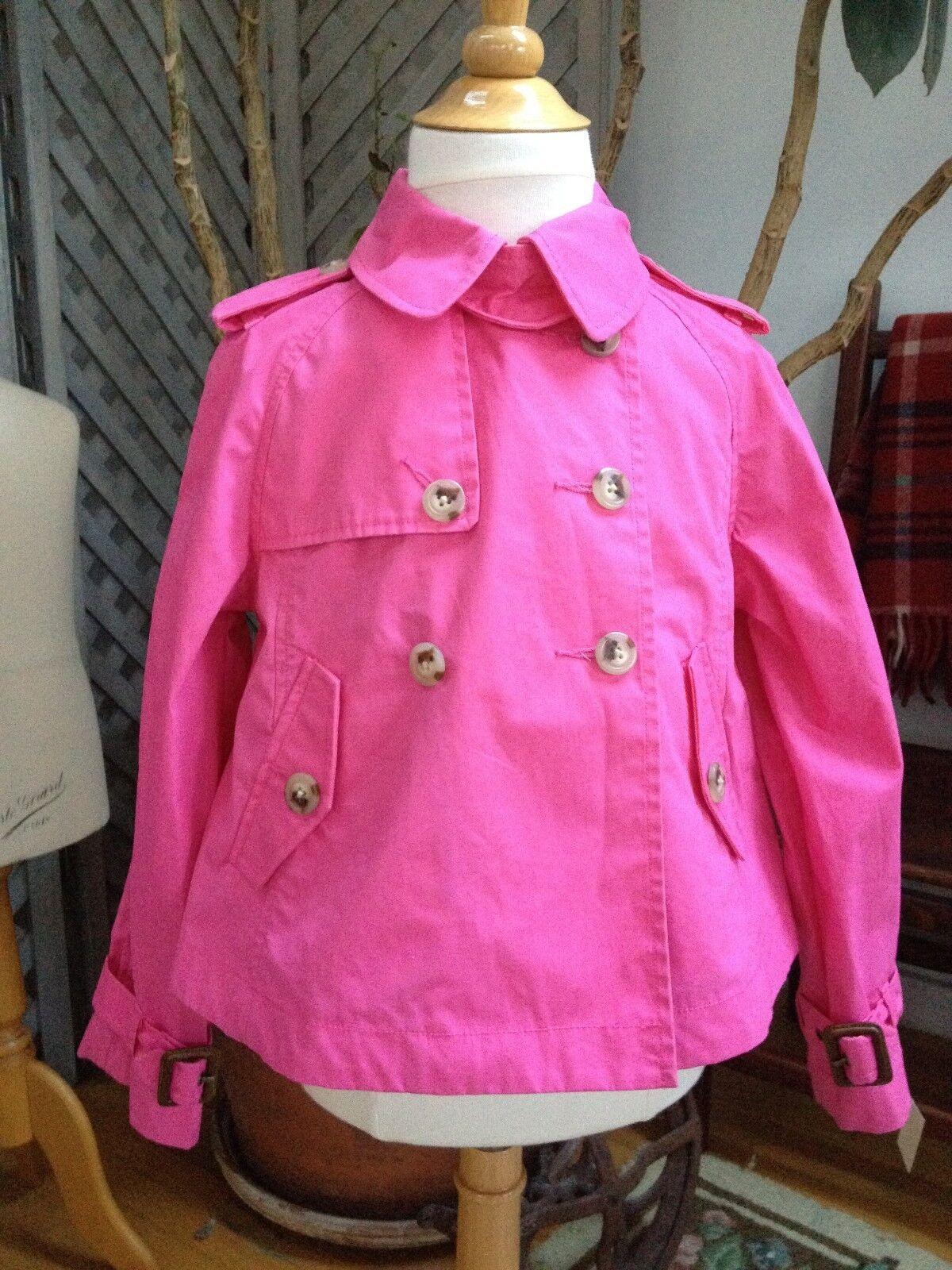 Mädchen 5 RALPH LAUREN RAIN COAT Jacke Kurzer Trenchcoat MILITARY Style Hot PINK Swing