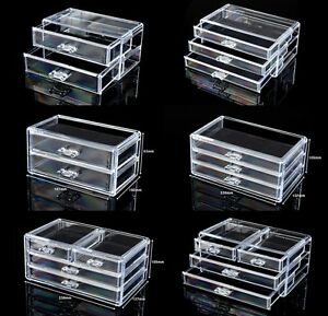Image Is Loading Cosmetic Organiser Acrylic Makeup Case Drawers Jewelry  Storage