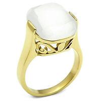 Ladies White Cat Eye Top Gold Ep Cocktail Ring