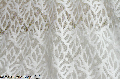 Pretty White Floral Leaf Embroidery Scalloped STRETCH Bridal LACE FABRIC - ½ M