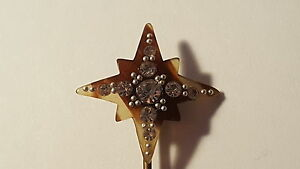 Clear-stone-amp-shell-vintage-Art-Deco-antique-sparkly-star-hair-grip