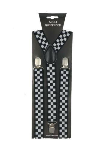Y Back Black and White,Red Checkered Adjustable Suspender 100/%Comfortable