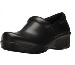 Dr Scholls Women Work Shoe Clogs Dynamo Size US 5.5 M Black Leather