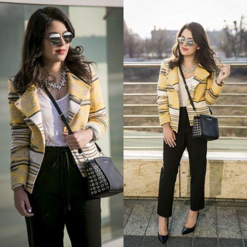 Yellow Ethnic Aztec Medium Jacquard Taglia Zara Blogger M Jacket Crossover dgx6dq7w
