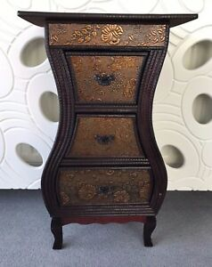 Image is loading Chinese-Style-3-Drawer-Storage-Unit-Bedside-Table- & Chinese Style 3 Drawer Storage Unit Bedside Table Cabinet Dark Wood ...