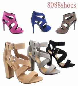 Objectif Sexy Femme Lanière Bout Ouvert Talon Haut Pompe Sandale Chaussures De Toutes Tailles 5.5 - 11 Neuf-afficher Le Titre D'origine