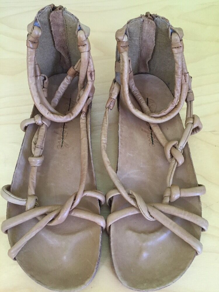 Free People ROTlands Leder Tan Leder ROTlands Gladiator Sandale Damens Größe 36 Boho be3958