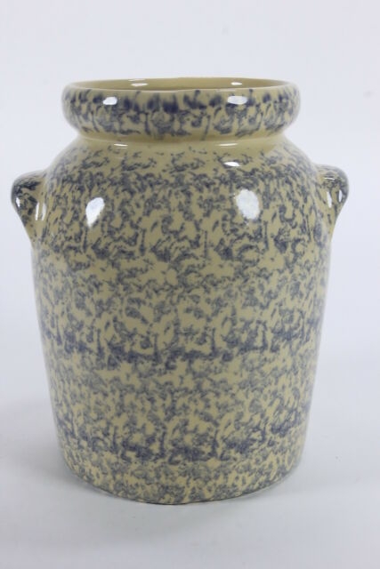 Robinson Ransbottom Pottery Company Blue Yellow Spongeware Urn Cookie Jar NO Lid