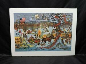 Charles-Wysocki-Small-Town-Christmas-Art-Print-Signed-Numbered-Horse-Sleigh-Ride