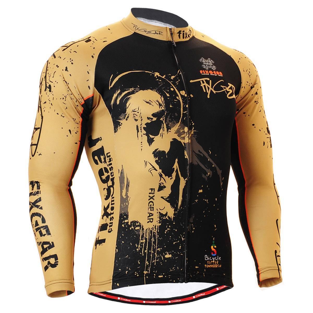 FIXGEAR CS-3201 mannen's Lange mouw Cycling Jersey Bicycle Apparel Roadbike MTB