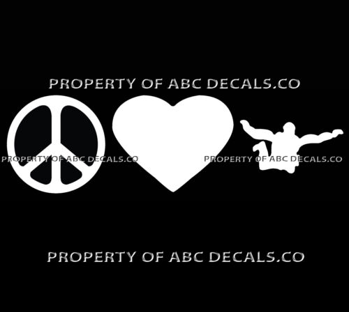 VRS PEACE LOVE SKYDIVING Skydive Man Parachuting Sign Heart CAR VINYL DECAL