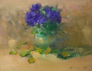 African Violet, Flowers, Original Oil painting  Handmade artwork One of a kind