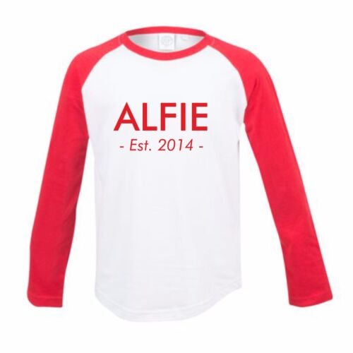 Year Long Sleeve Tshirt Baseball Childs Kids Personalised Custom Name and Est