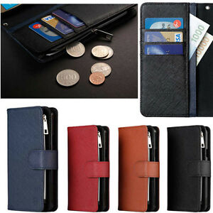 Caro Zipper Genuine Leather Case for Samsung Galaxy Note20 Note10 Note 9 8 5 4