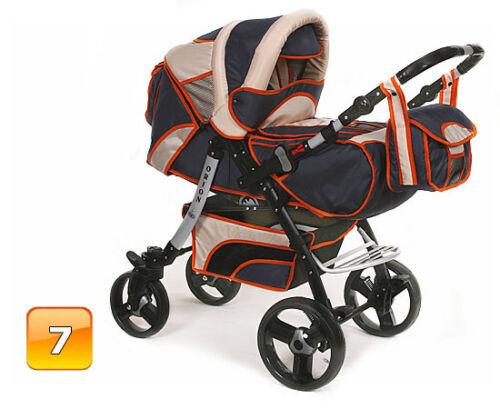 Neu Kombi Kinderwagen Schwenkräder Pram Poussette Sportsitz Autositz Babyschale