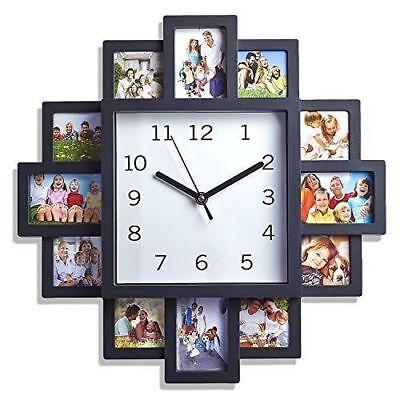 12 Cornice & Orologio Da Parete Multi Apertura Moderno Collage Cornice Foto Di Famiglia-mostra Il Titolo Originale