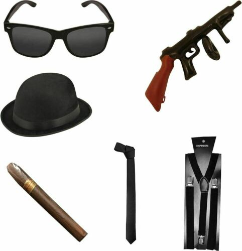 Gangster Accessory Set Peaky Blinders Fancy Dress Costume Party Accessory Lot