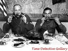 WWI Soldier & Sailor Eating Thanksgiving Meal - 1918 - Historic Photo Print