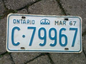 Vintage MARCH 1967 Ontario ON Canada Vehicle License Plate White Blue ~  c79967