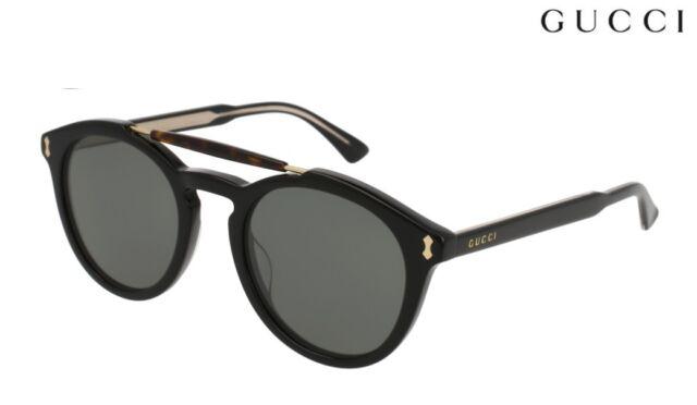 bdbc310c0dc Gucci Gg0124s 001 Black Plastic Round Sunglasses Grey Lens for sale ...