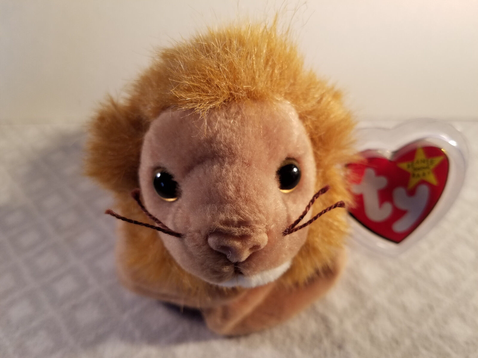 New 1996 Roary Retired Ty Beanie Baby Lion PVC Pellets Stuffed Plush Animal Toy