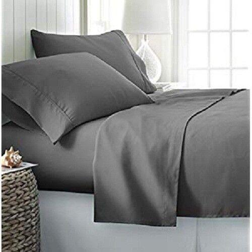 One Flat Top Sheet + 2 Pillows 100% Pima Cotton 1000 TC Dark Grey Solid
