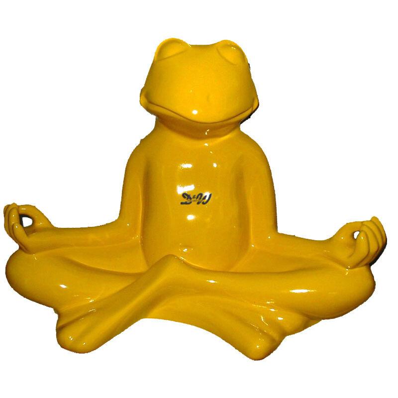 YOGA YOGA YOGA FROSCH GELB RELAX LOTUSSITZ Garten Deko Figur FENG SHUI MEDITATION ddd022