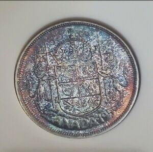 Toned-Silver-1956-Canada-50-Cents-Half-Dollar-NGC-PL66