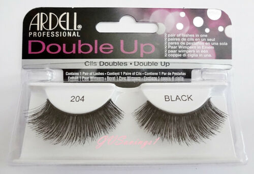 (LOT OF 10) Ardell DOUBLE UP LASHES #204 False Fake Eyelashes Black Thick Full