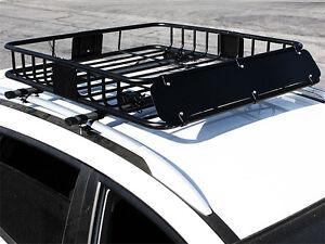 Hd Black Steel Roof Basket Carrier Rack Car Top Luggage