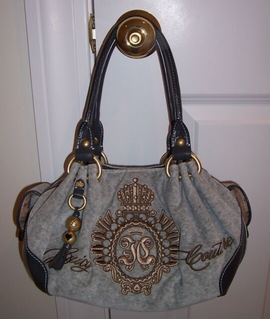 7aff5ce3e7e6 Juicy Couture Baby Fluffy Bag Studded Crown Logo Crest Grey Yhrus532 ...