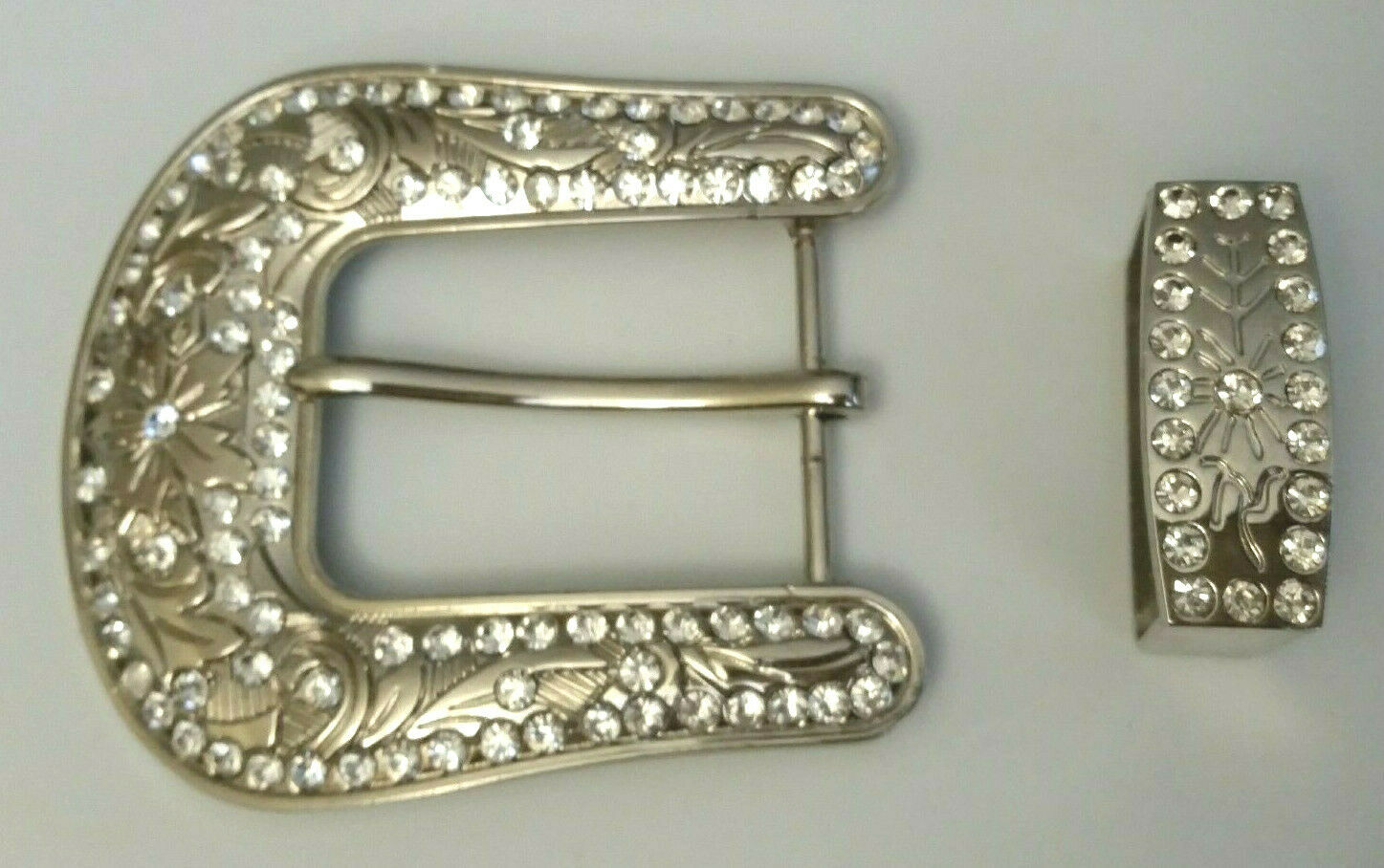 2pc Rhinestone belt buckle, Western Cowgirl Cowboy 3 1/3 x 3 1/8 Silver nickel