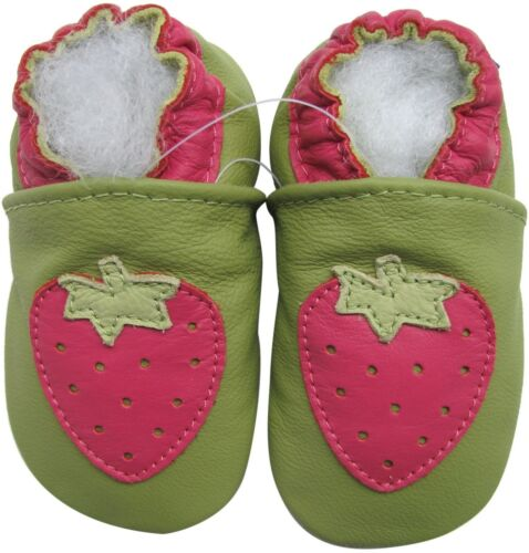 carozoo strawberry green 0-6m soft sole leather baby shoes