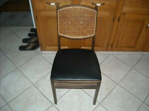 Details About Vintage Retro Mid Century Vinyl Padded Stakmore Folding Chair Wood Wicker Back