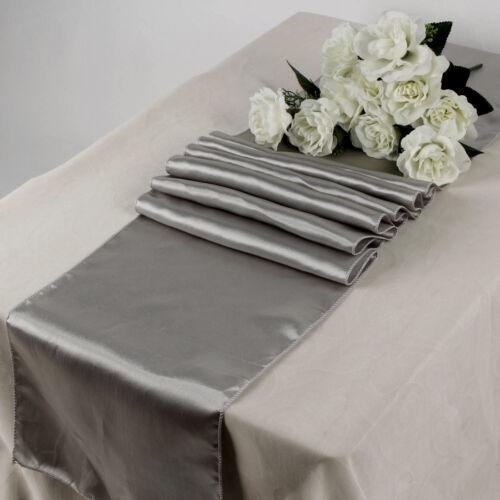 "10PC 12/"" x 108/"" Satin Table Runner Sash Wedding Venue Decoration Silver Grey"
