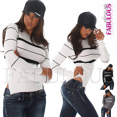 New Sexy Ladies Women's Striped Jumper Sweater Pullover Knit Top Size 6 8 XS S