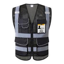 Jksafety 9 Pockets High Visibility Safety Vest Reflective Strips Zipper Medium