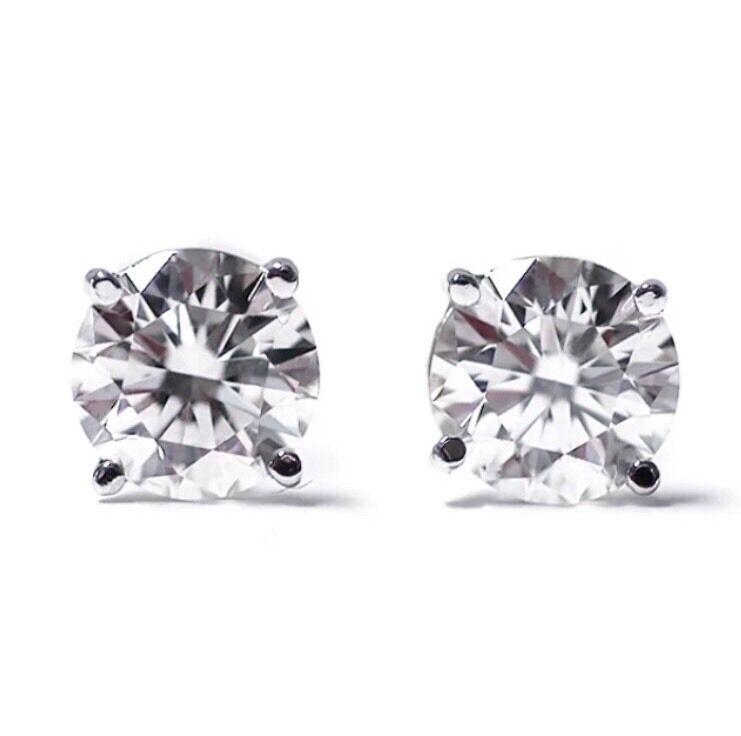 2.00 Ct 2 Carat Total F - VS2 Round Genuine Diamonds 14K gold STUDS EARRINGS