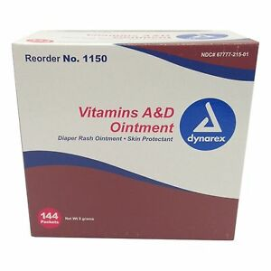 Details about Dynarex Vitamins A&D Tattoo Ointment 144ct 5g Packets Skin  Protectant Aftercare
