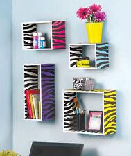 Wild Animal Print Zebra Color Storage Cube Wall Wood Shelf Display Accent Decor