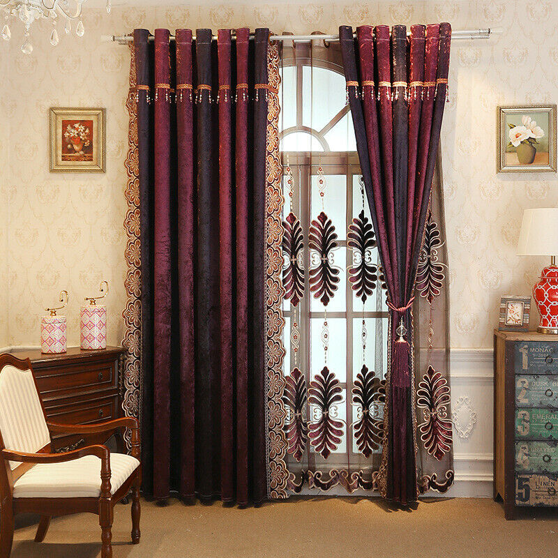 Window curtain Luxury flannelette laser embroiderosso curtain cloth curtain tulle